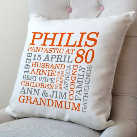 Personalised 80th Birthday Word Art Cushion